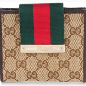 Authentic Gucci Monogram Web French Flap Wallet